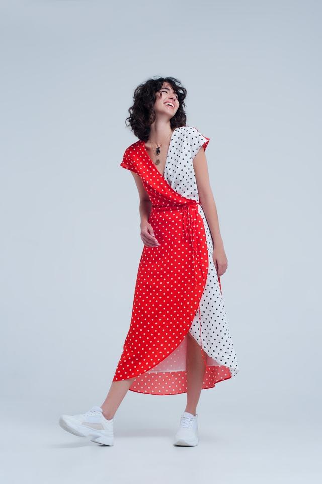 Rode wikkel jurk met stippen