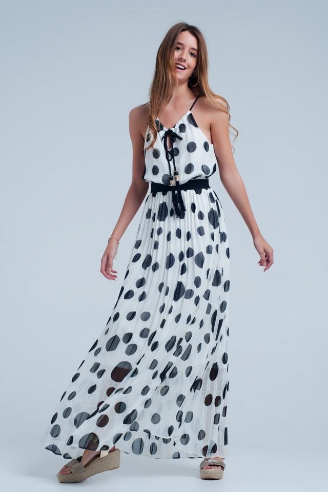 Creme jurk met zwarte stippen