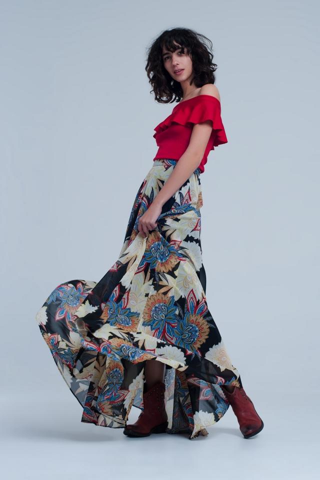 Lange zwarte rok met bloemenprint
