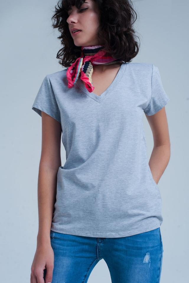 Grijs shirt met  hals