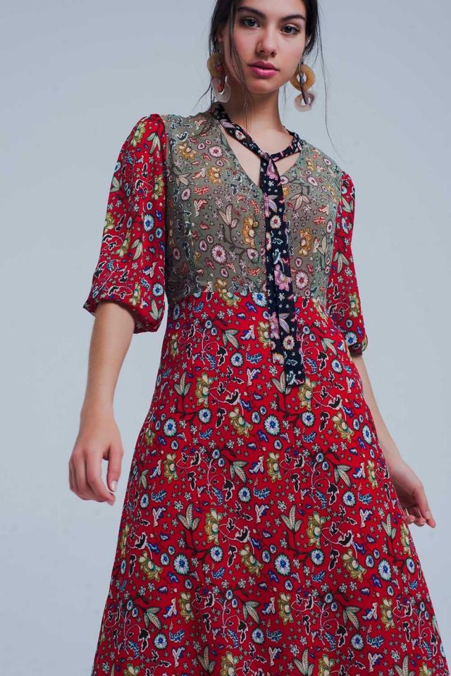 Bloemenprint maxi jurk in rood