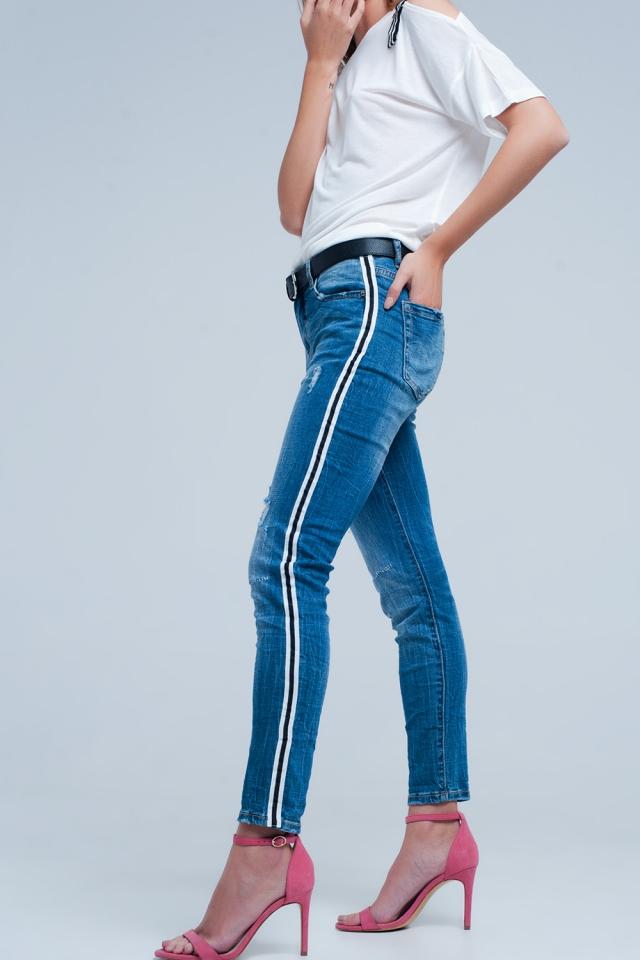 Donkere denim jeans met streep aan de zijkant