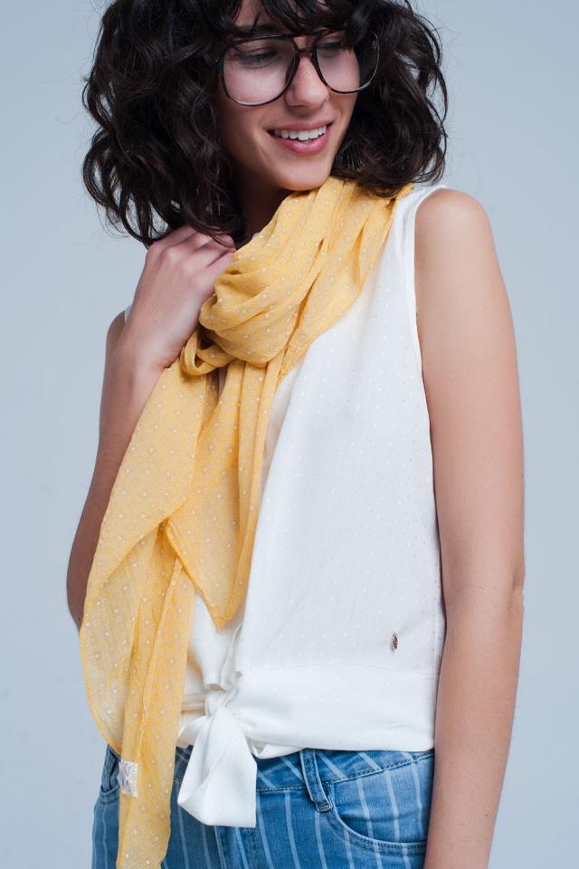 Mosterd sjaal met figuren print