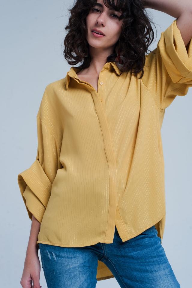Gele Oversized Blouse met Lurex Details