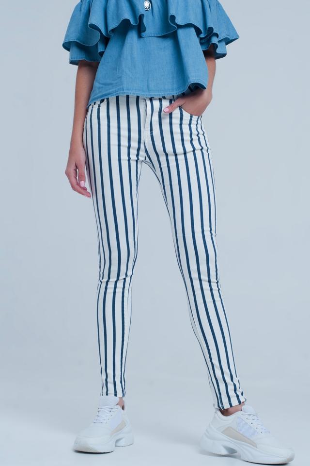 Witte skinny jeans met donker blauwe strepen