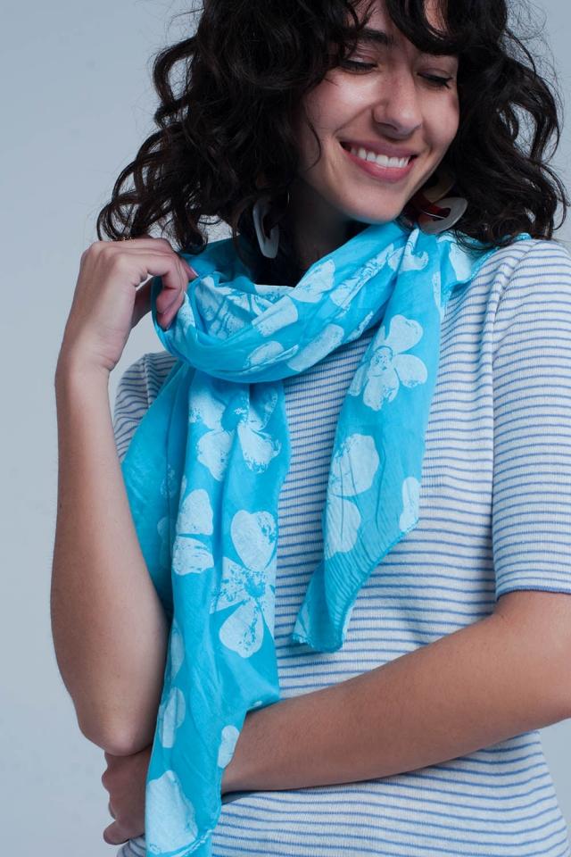 Turquoise sjaal met bloemenprint