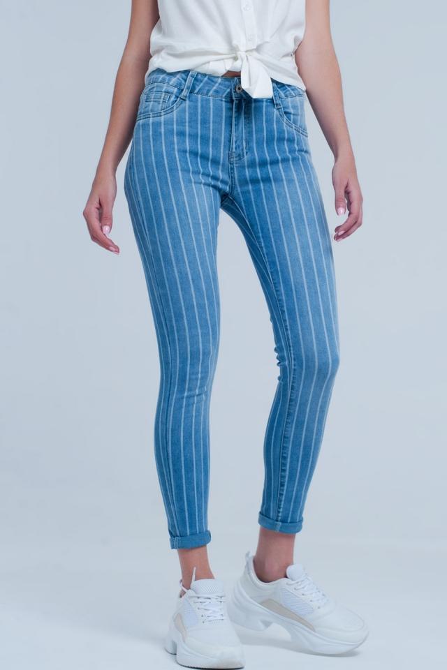 Lichte denim skinny jeans met lichte strepen