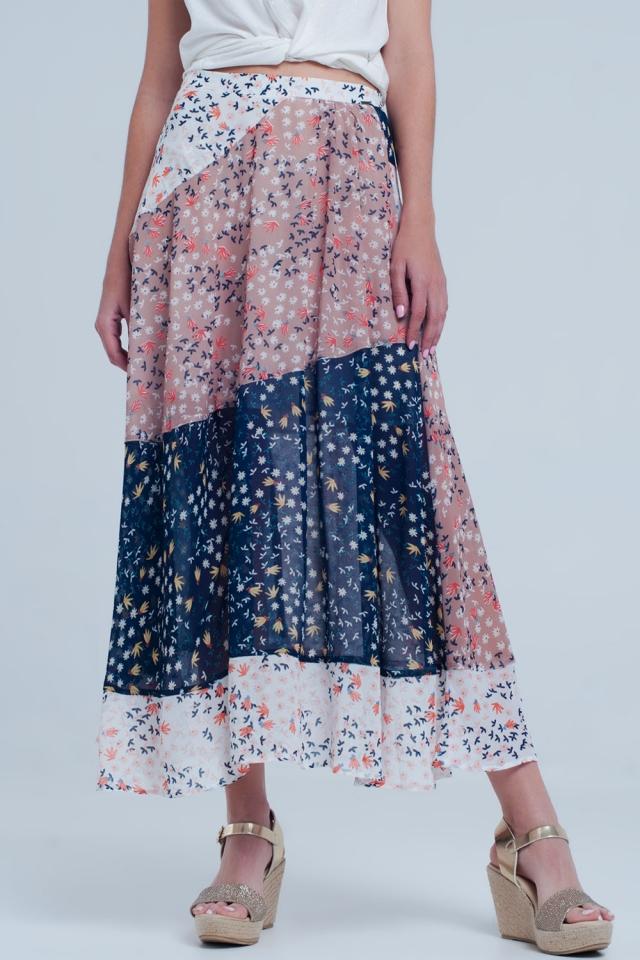 Blauwe Midi-rok met bloemenprint