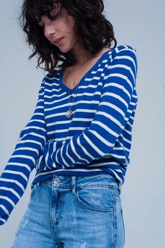 Blauw witte gestreepte trui