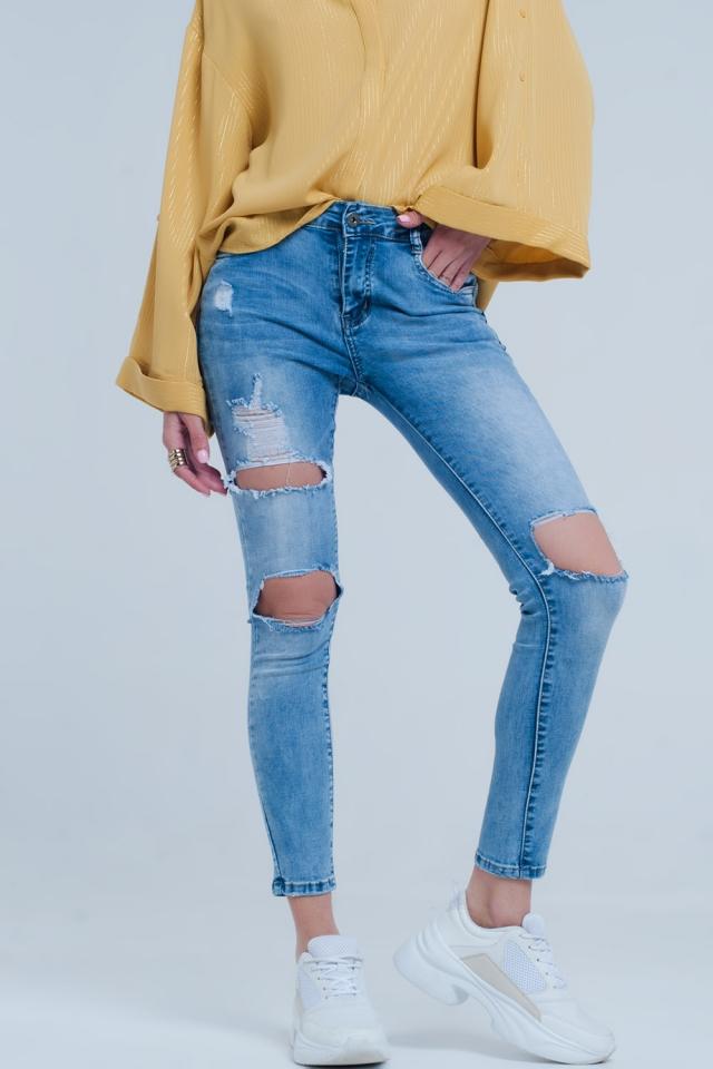 Lichte denim gescheurde skinny jeans