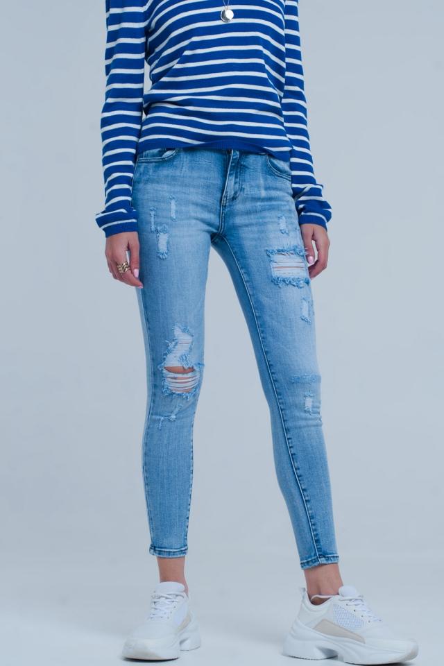 Lichte gescheurde skinny jeans