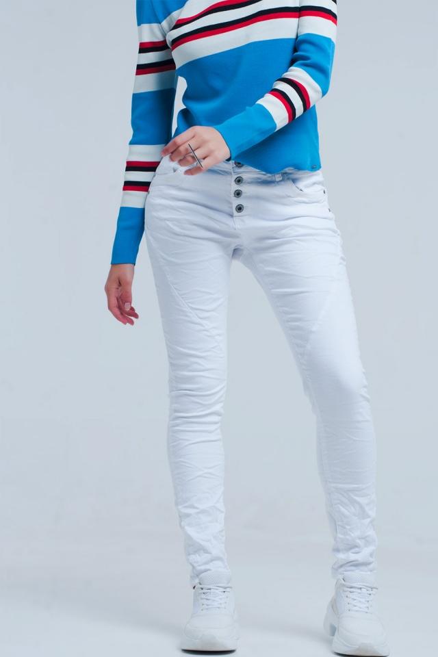 Witte laagbouw boyfriend jeans
