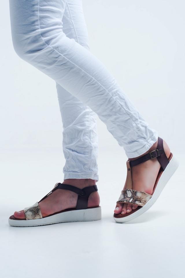 Beige sandalen met slangenprint