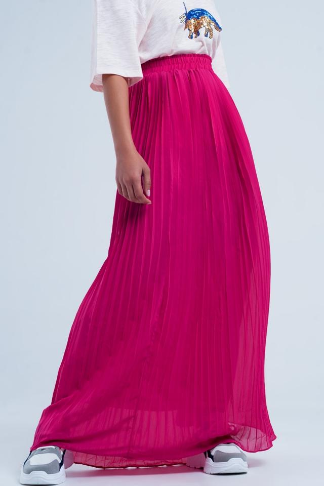 Lange geplooide rok in fuchsia kleur