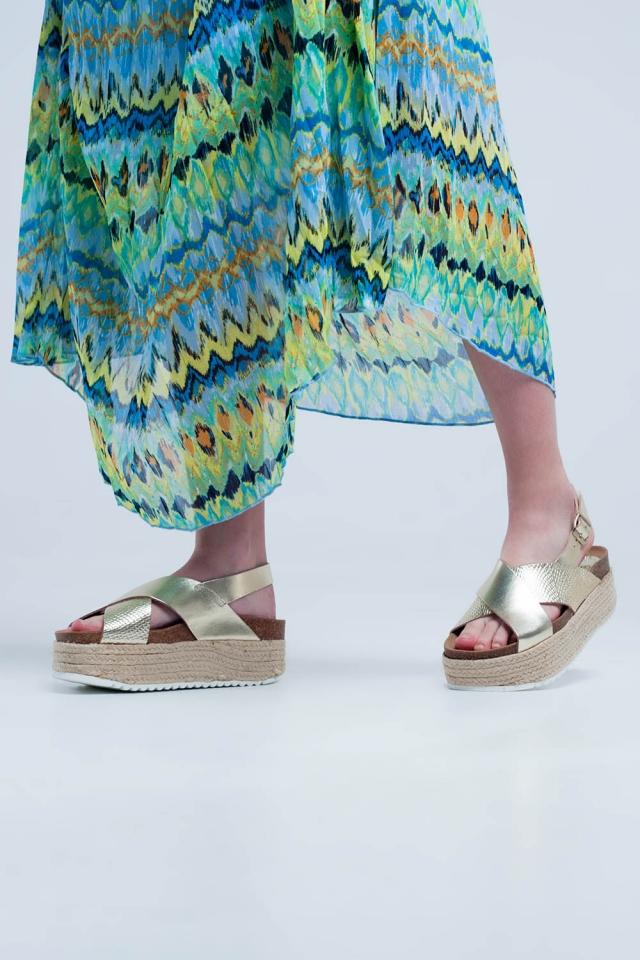 Platform espadrille sandalen in goud kleur