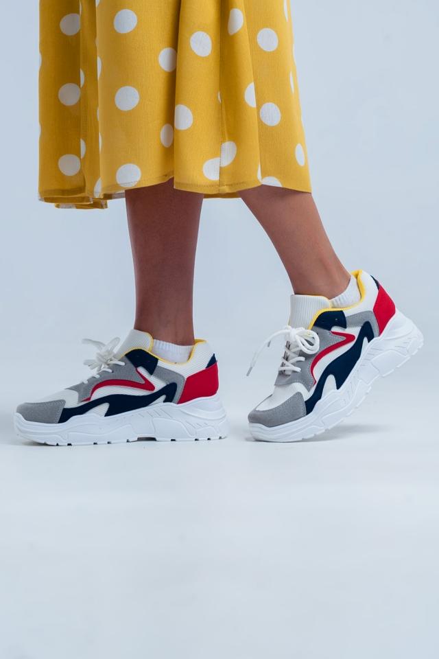 Witte sneakers met platform en meerdere kleuren