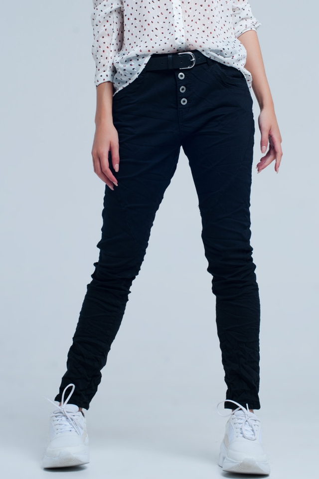 Zwarte laagbouw boyfriend jeans