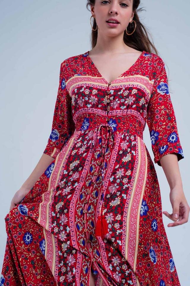 Rode jurk met bloemenprint en strepen
