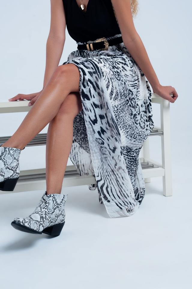 Lange geplooide rok met luipaard print