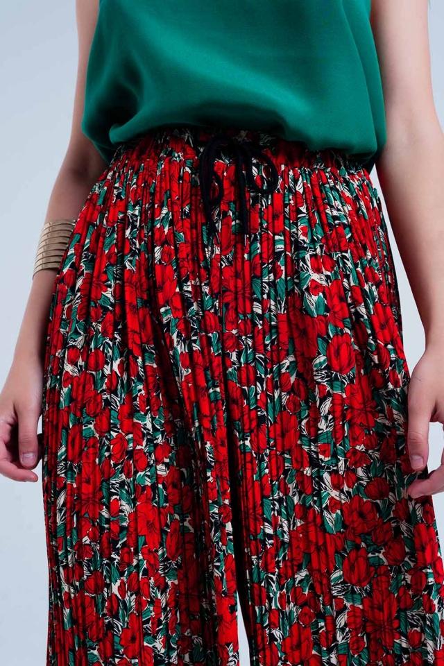Rode geplooide broek met bloemenprint