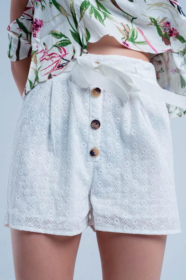 Witte broek met knop detaillering