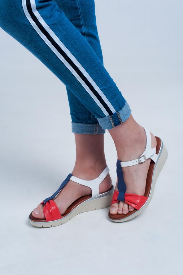 Rood-blauw kleurige wig sandalen