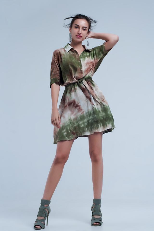 Kaki geknoopte korte jurk