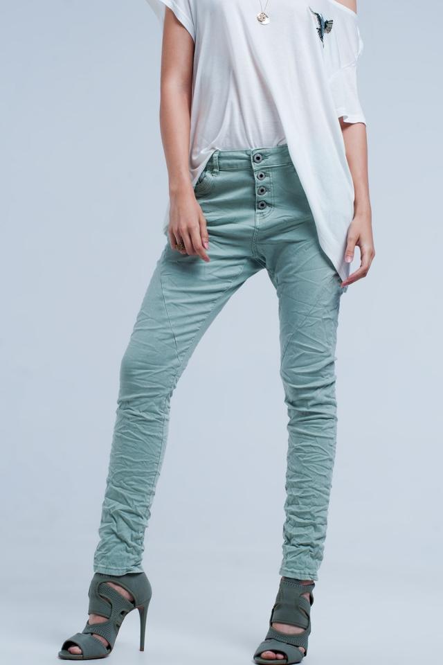 Groene boyfriend-jeans met lage taille