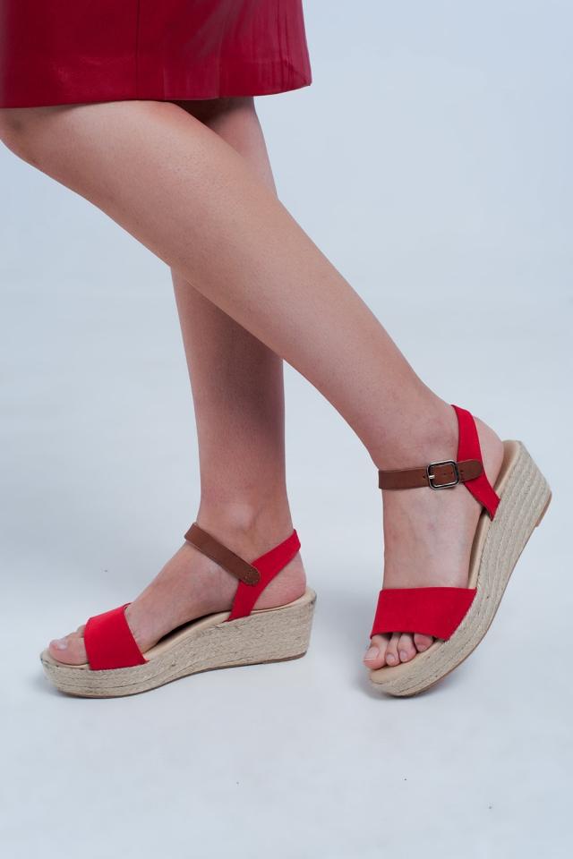 Espadrille wig sandalen in rood