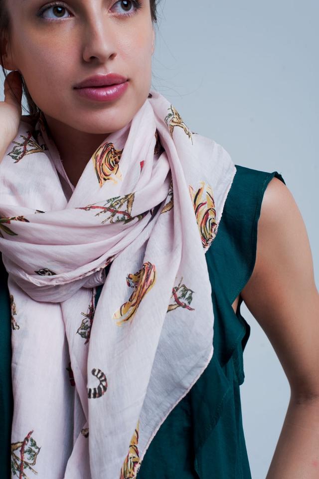 Roze sjaal met dierenprint