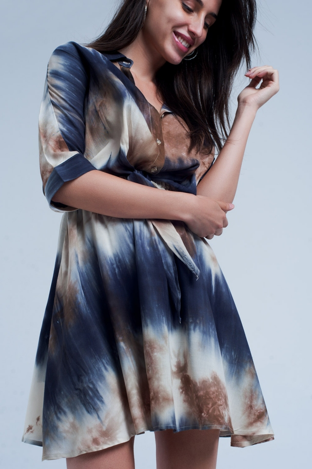 Blauwe geknoopte korte jurk