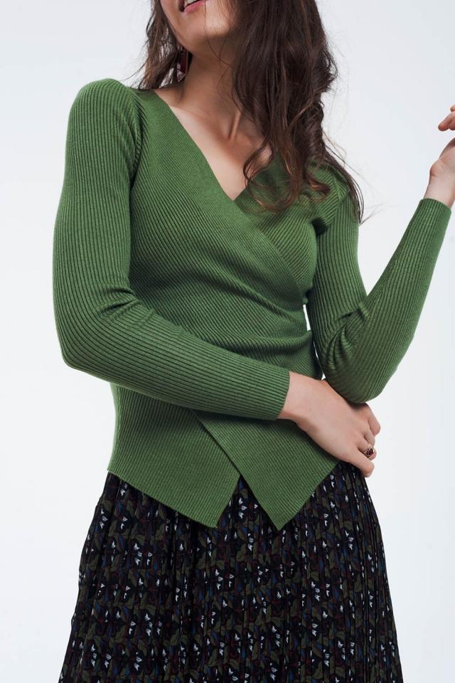 Groene geribbelde omslagtrui met v hals
