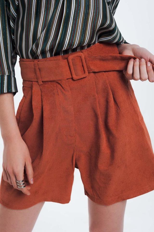 Oranje geribbelde shorts met riem
