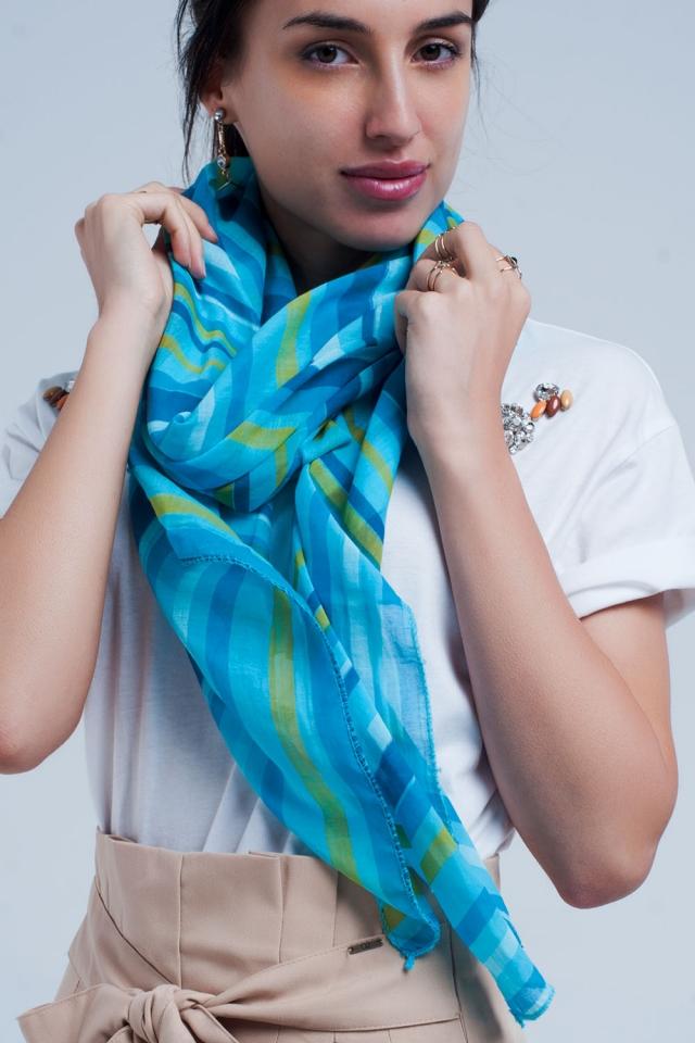 Turquoise sjaal met blauwe strepen