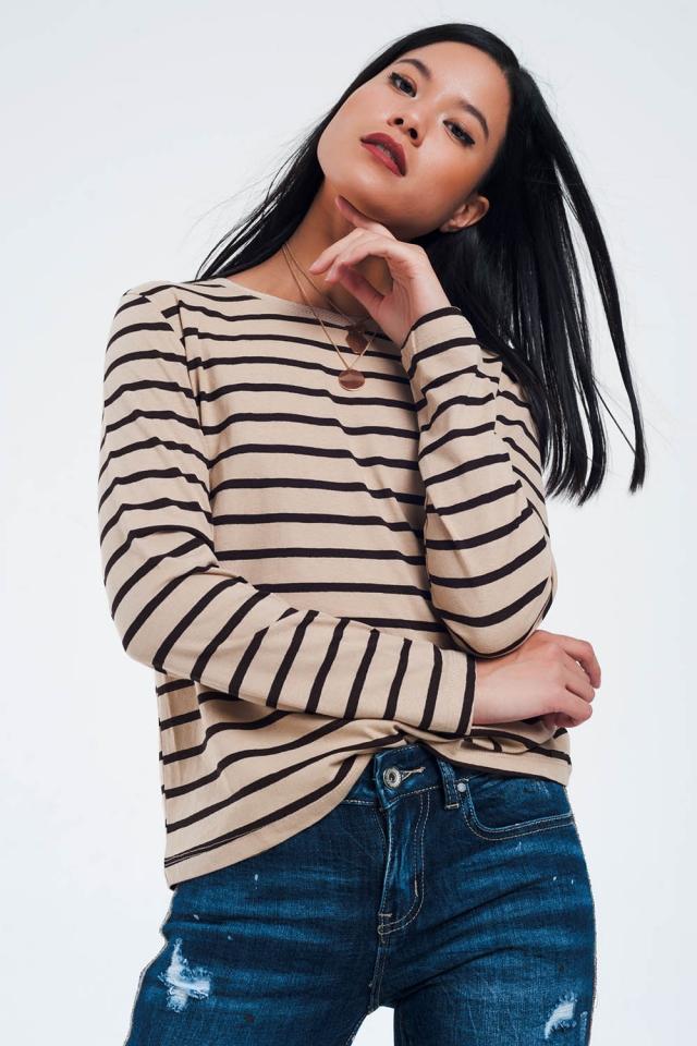Beige basic t-shirt met strepen