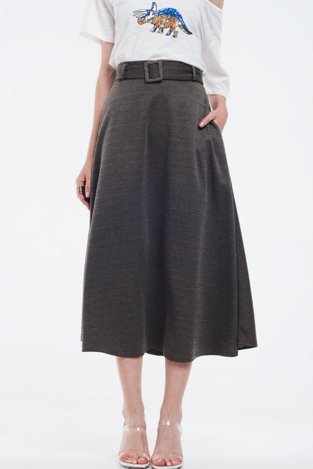 Bruine midi-rok met riem en zakken