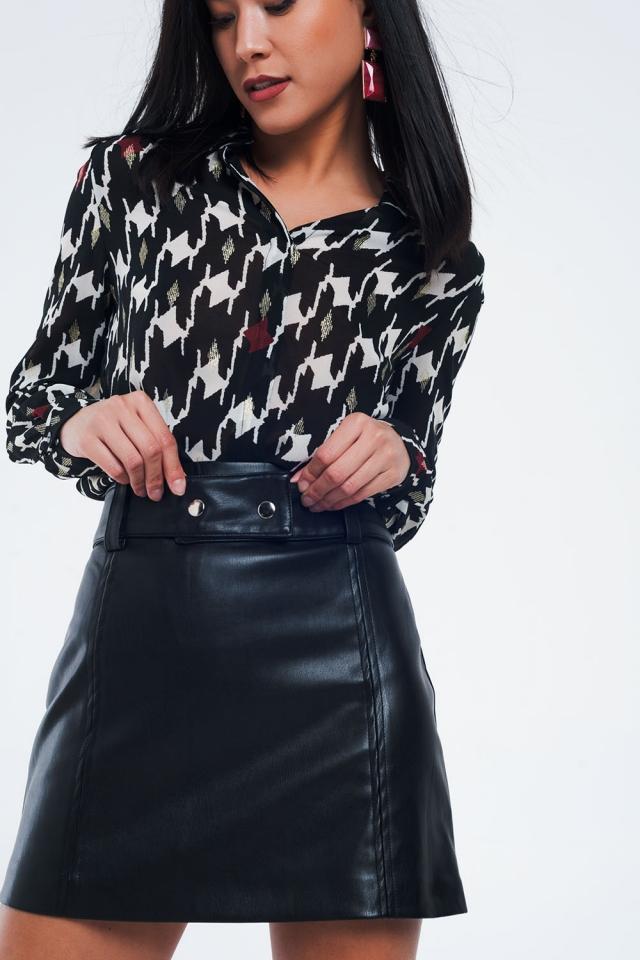 Regular-fit overhemd met geometrische zwart print