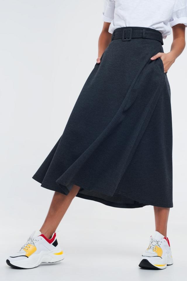 Grijze midi-rok met riem en zakken