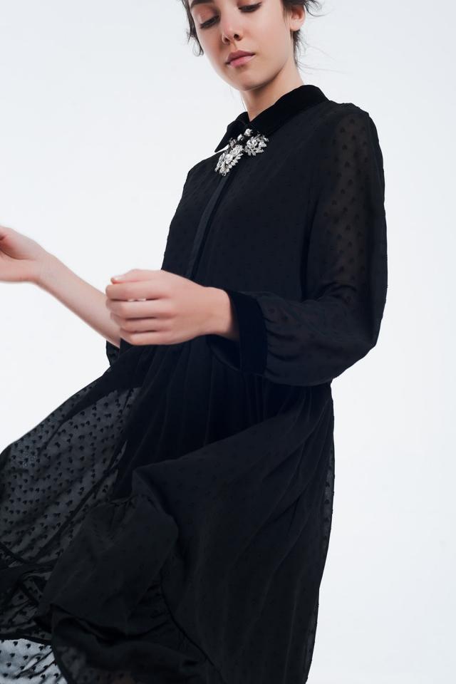 Tweekleurige zwarte midi-jurk