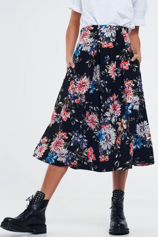 Zwarte bloemenrok met doosplooien