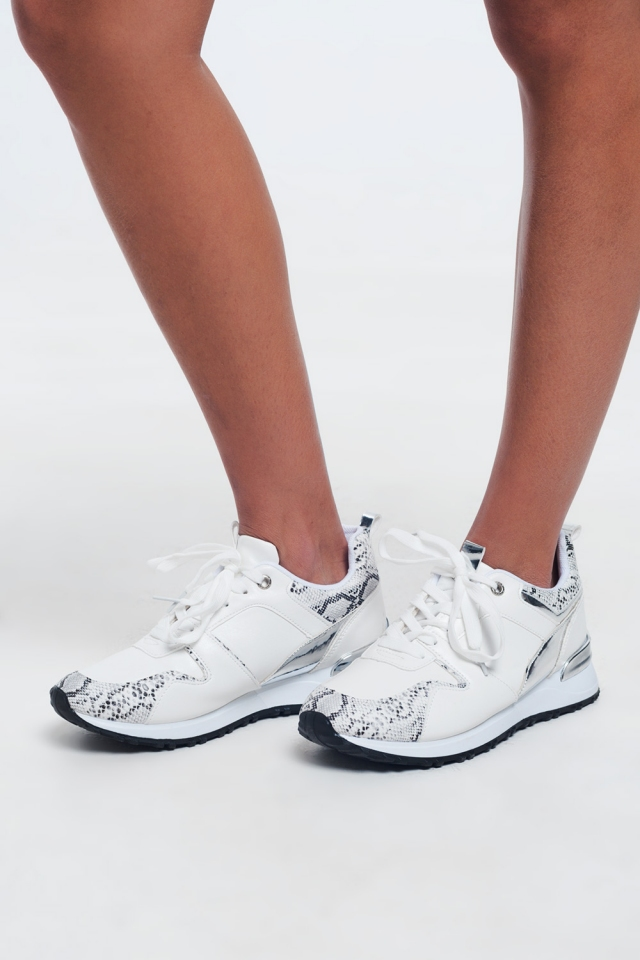 Grote Snake-effect witte kanten sneakers