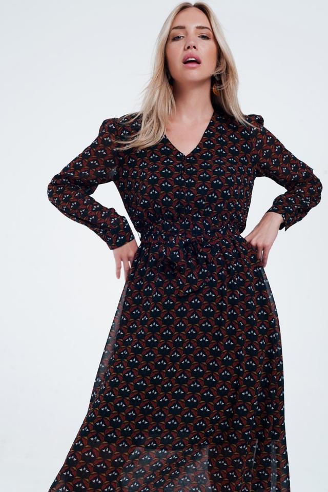 Midi-jurk met bloemenprint en knopen