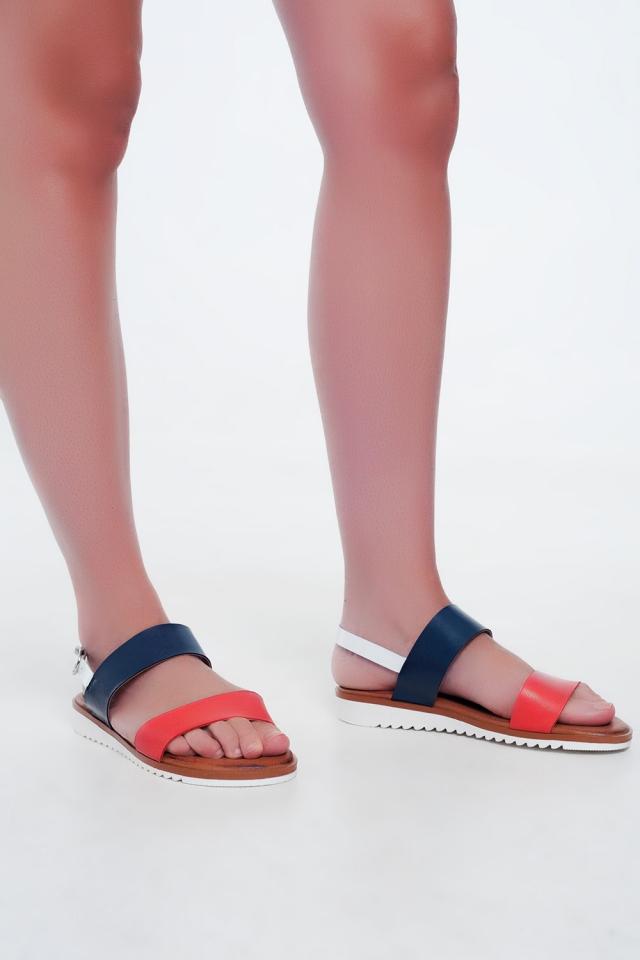 Platte leren sandalen in rood en blauw