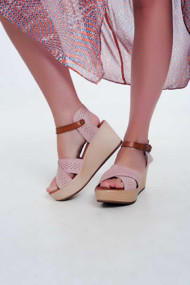 Leren espadrille-sandalen roze  met hoge sleehak