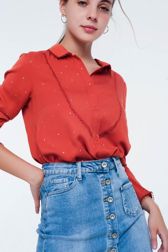 Nette blouse Oranje met lange mouwen en kraagdetail