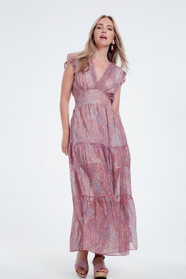 Gelaagde lange jurk met volant en bloemenprint