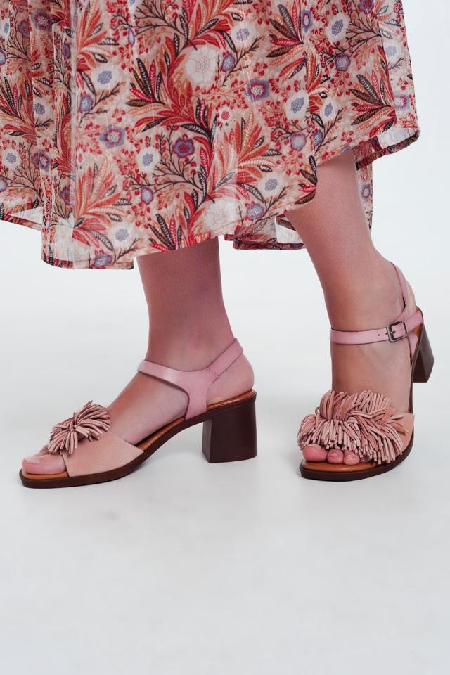 Hak sandalen met ruches in het roze