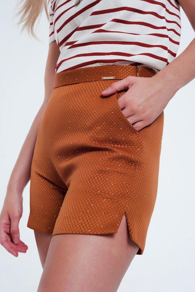 Versierde short met hoge taille in oranje en goud