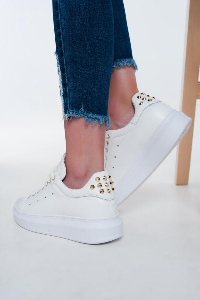 Witte sneakers met plateauzool Met studs