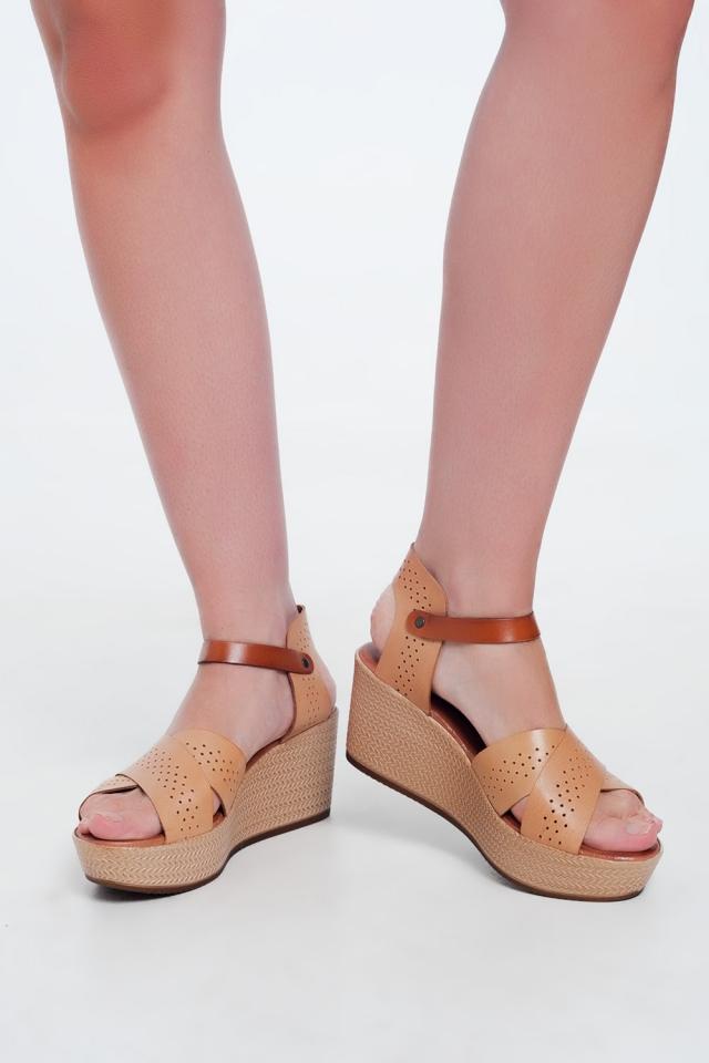 Leren espadrille-sandalen Beige met hoge sleehak
